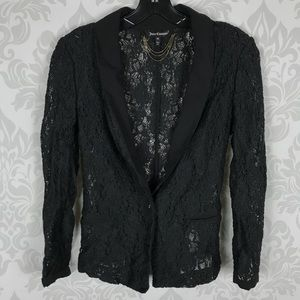 Juicy Couture Black Lace Blazer Semi Sheer Size XS